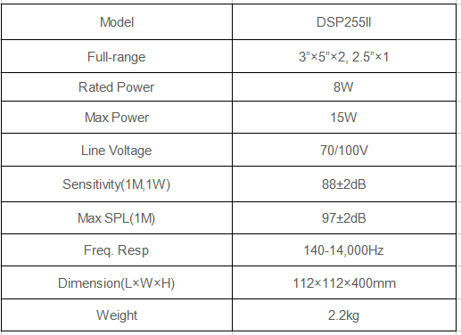 Digital Column Speaker specification